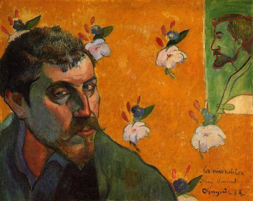 Self-Portrait with portrait of Emile Bernard (Les Misérables) - Dedicated to Van Gogh, France, 1888